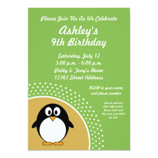 Invitation de fête d'anniversaire de pingouin