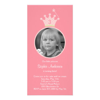 Invitation de fête d'anniversaire de princesse cartes avec photo