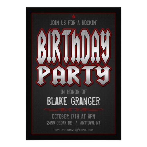 Invitation de fête d'anniversaire de rock