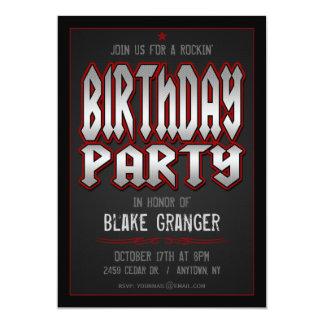Invitation de fête d'anniversaire de rock carton d'invitation  12,7 cm x 17,78 cm