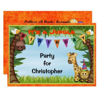 Invitation de fête d'anniversaire de safari de