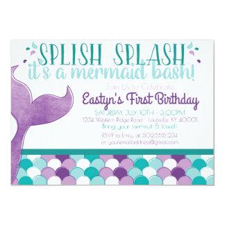 Invitation de fête d'anniversaire de sirène