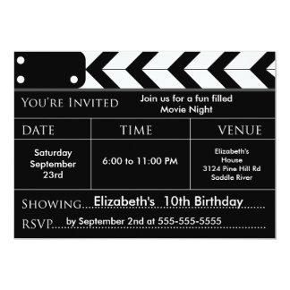 Invitation de fête d'anniversaire de SOIRÉE CINÉMA Carton D'invitation 12,7 Cm X 17,78 Cm