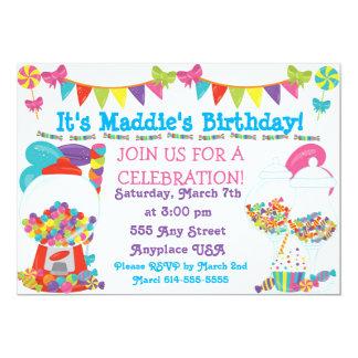 Invitation de fête d'anniversaire de sucrerie
