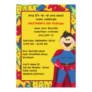 Invitation de fête d'anniversaire de super héros
