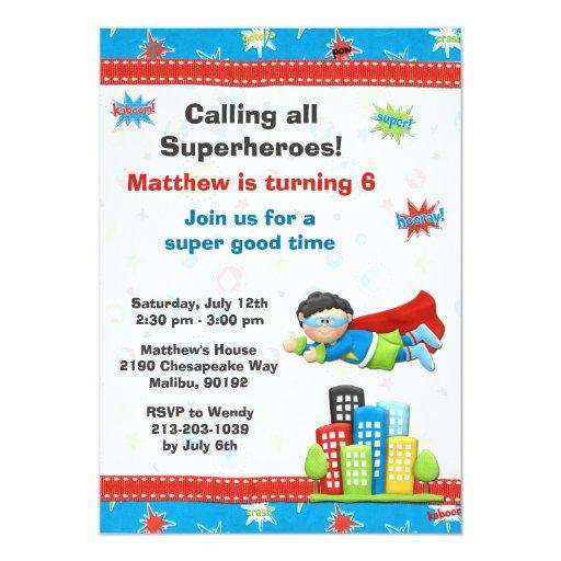 Invitation de fête d'anniversaire de super héros carton d'invitation  12,7 cm x 17,78 cm