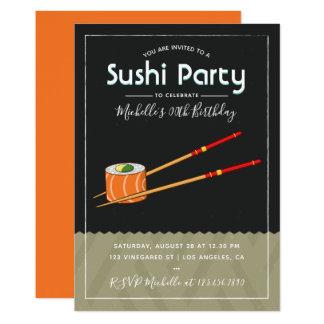 Invitation de fête d'anniversaire de sushi