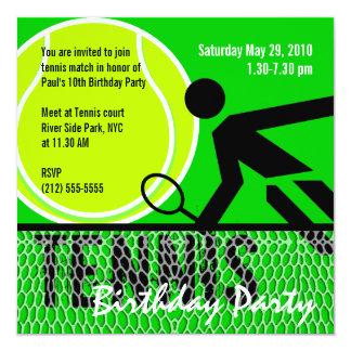 Invitation de fête d'anniversaire de tennis