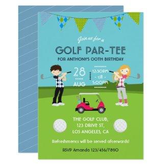 Invitation de fête d'anniversaire de thème de golf
