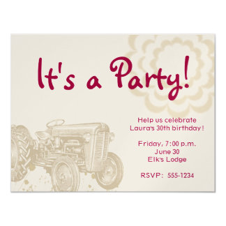 Invitation de fête d'anniversaire de tracteur