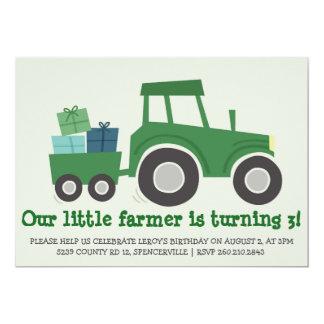 Invitation de fête d'anniversaire de tracteur carton d'invitation  12,7 cm x 17,78 cm