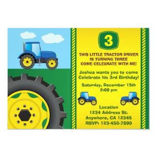 Invitation de fête d'anniversaire de tracteur tout