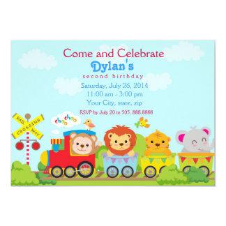 Invitation de fête d'anniversaire de train de zoo