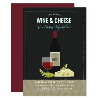 Invitation de fête d'anniversaire de vin et de