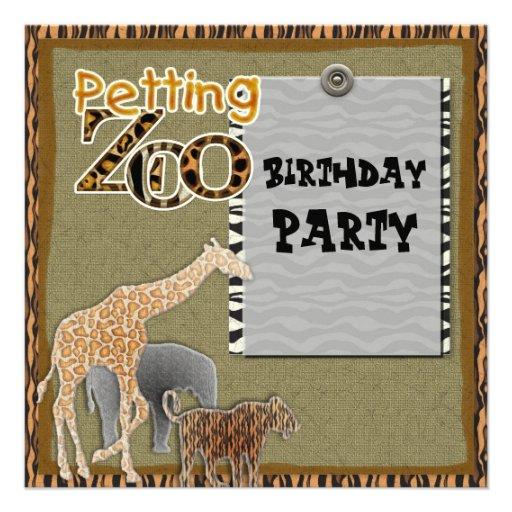invitation de fête d'anniversaire de zoo de safari