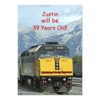 Invitation de fête d'anniversaire, train bilatéral