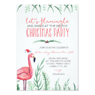 Invitation de fête de Noël de flamant