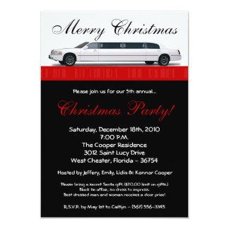 invitation de fête de Noël de limousine du rouge