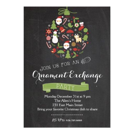 Invitation de fête de Noël d'échange d'ornement