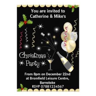 Invitation de fête de Noël - noir et or