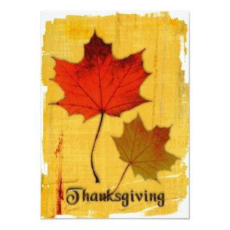 Invitation de feuille d'automne de thanksgiving