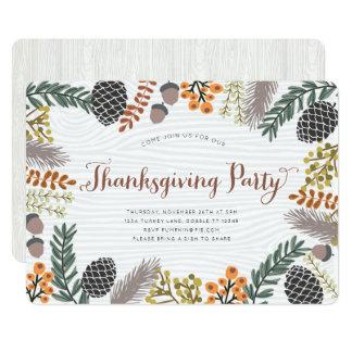 Invitation de fibre de bois de thanksgiving