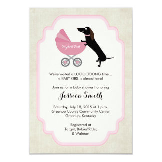 Invitation de fille de baby shower de teckel