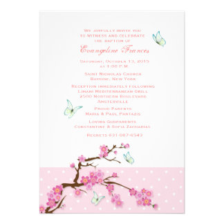 Invitation de fleurs de cerisier et de papillons