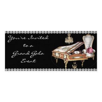 Invitation de gala de piano quart de queue carton d'invitation  10,16 cm x 23,49 cm
