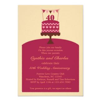 Invitation de gâteau d'anniversaire de mariage 40 carton d'invitation  12,7 cm x 17,78 cm