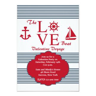 Invitation de la partie de Valentine de bateau de Carton D'invitation 12,7 Cm X 17,78 Cm