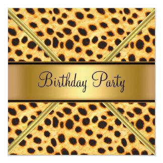 Invitation de léopard de fête d'anniversaire de la