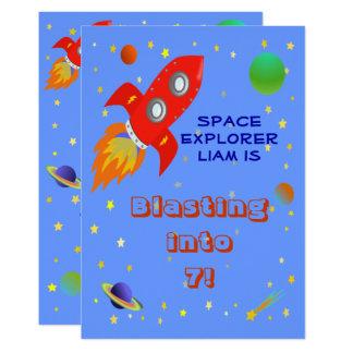 Invitation de l'explorateur d'espace 5x7