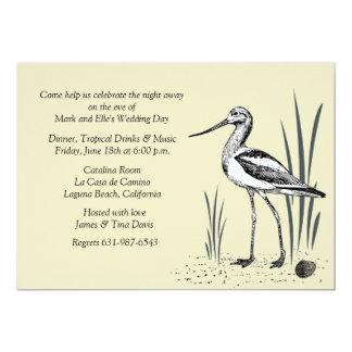 Invitation de l'oiseau marin d'avocette carton d'invitation  12,7 cm x 17,78 cm