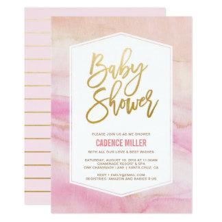 Invitation de marbre de baby shower de fille