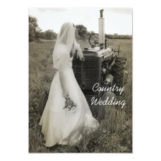Invitation de mariage campagnard de jeune mariée