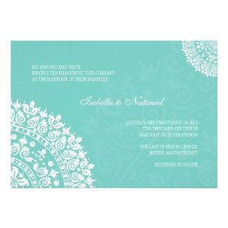 Invitation de mariage damassé d'Aqua
