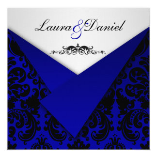 Invitation de mariage damassé de bleu et de noir