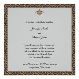 Invitation de mariage damassé de chocolat et