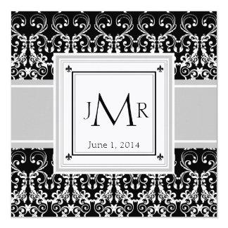 Invitation de mariage damassé de monogramme
