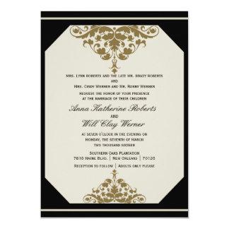 Invitation de mariage damassé de noir en ivoire et