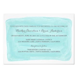Invitation de mariage d'aquarelle de turquoise