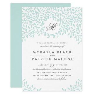Invitation de mariage de jardin secret - menthe