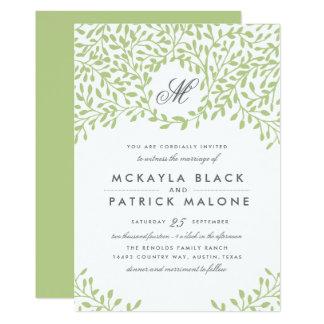 Invitation de mariage de jardin secret - vert