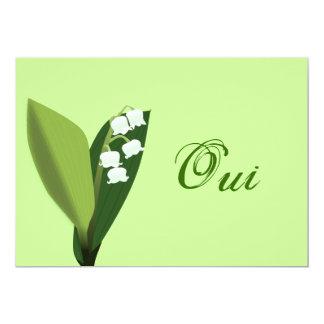 Invitation de mariage muguet oui fond vert