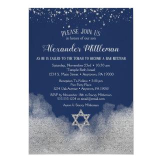Invitation de Mitzvah de barre argentée de bleu
