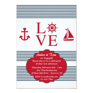 Invitation de navigation d'amour carton d'invitation  12,7 cm x 17,78 cm