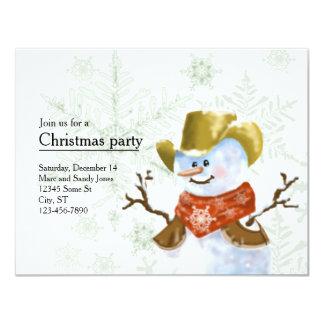 Invitation de Noël de bonhomme de neige de cowboy