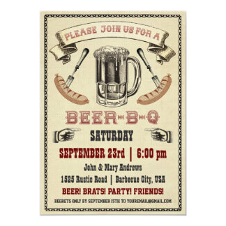 Invitation de partie de Bière-B-q