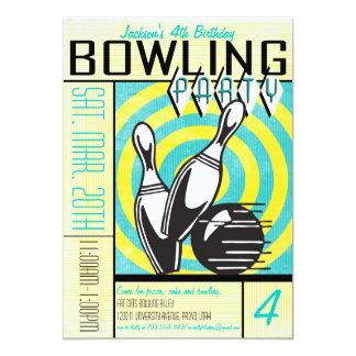 Invitation de partie de bowling - Aqua Carton D'invitation 12,7 Cm X 17,78 Cm